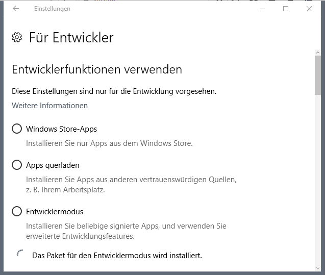Windows 10 Entwicklermodus